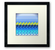 Cute Yellow Ducky on Blue Gradient Water Framed Print