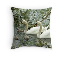 Swan Family at Eastwell Lake Throw Pillow