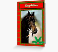 HOLLY HORSE RED & GREEN CHRISTMAS CARD - MERRY CHRISTMAS Greeting Card