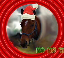 HO HO HO SANTA HORSE CHRISTMAS CARD - CHRISTMAS CARD by Cheryl Hall