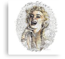 Marilyn Monroe Calligraphy Canvas Print