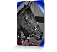 HORSE CHRISTMAS CARD BLUE - MERRY CHRISTMAS Greeting Card