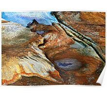 Aerial View of sandstone cliffs beside the sea. Poster