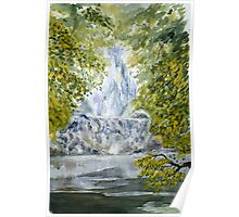 Waterfall with birds Poster