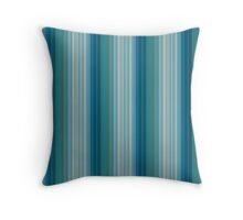 Blue Green Grey Turquoise Repeating Vertical Stripes with Visual Weave Texture Throw Pillow