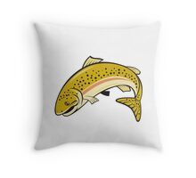 Rainbow Trout Jumping Cartoon Isolated Throw Pillow
