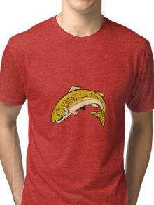Rainbow Trout Jumping Cartoon Isolated Tri-blend T-Shirt