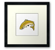 Rainbow Trout Jumping Cartoon Isolated Framed Print