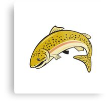 Rainbow Trout Jumping Cartoon Isolated Metal Print