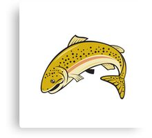 Rainbow Trout Jumping Cartoon Isolated Canvas Print