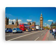 Westminster Bridge: Showing Big Ben Canvas Print