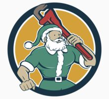 Santa Claus Plumber Monkey Wrench Circle Cartoon by patrimonio
