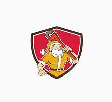Santa Claus Plumber Monkey Wrench Shield Cartoon Unisex T-Shirt