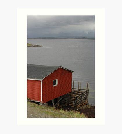 Boathouse by the bridge Art Print