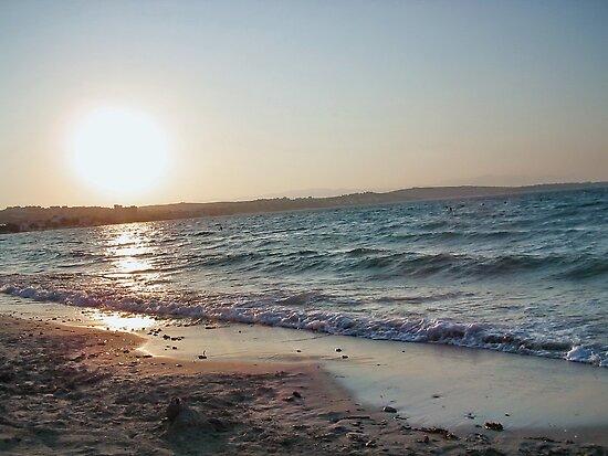 Beautiful Empty Beach at sunset by robertpatrick