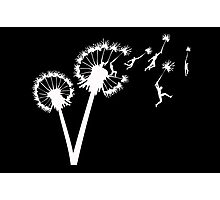 Dandylion Flight - white silhouette Photographic Print