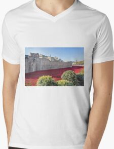Tower Of London Poppies Mens V-Neck T-Shirt