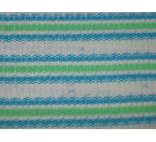 Horizontal White Blue Green Stripes Photographic Print