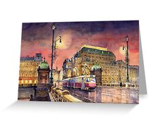 Prague  Night Tram National Theatre Greeting Card
