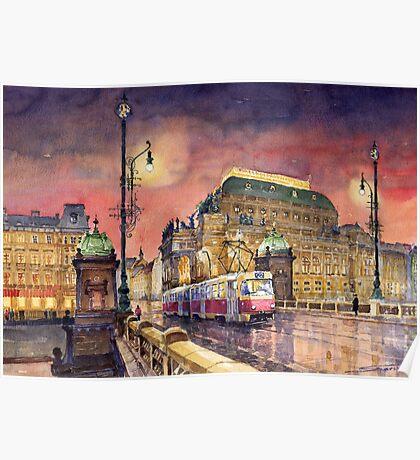 Prague  Night Tram National Theatre Poster