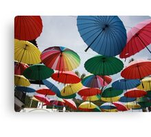 Street Decorated With Colored Umbrellas Canvas Print