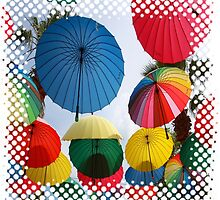 A Shower of Rainbow Coloured Umbrellas by taiche