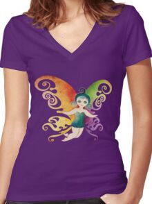 Butterfly Fairy Women's Fitted V-Neck T-Shirt