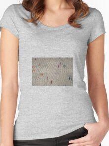 White Knit Rainbow Flecks Women's Fitted Scoop T-Shirt