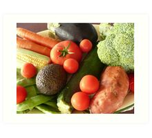 Assorted Vegetables on a Plate. Art Print