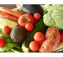 Assorted Vegetables on a Plate. Photographic Print