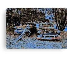 Vintage Decay in Red, White and Blue Canvas Print