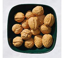 Bowl of Unshelled Walnuts  Photographic Print