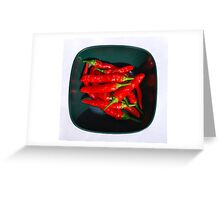 Bowl of Red Chillis in Sunlight   Greeting Card