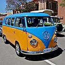 Orange and Blue Volkswagen Kombi Van by Ferenghi