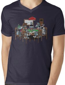 Robot Dogs Playing Poker Mens V-Neck T-Shirt