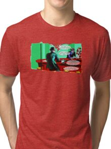 Who is the Balloon Suited Man? A Graphic Novel Tri-blend T-Shirt