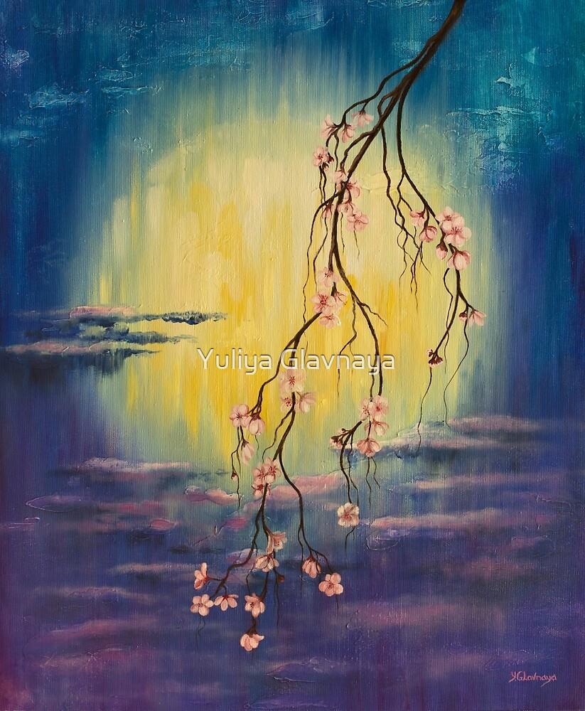 Full moon sakura by Yuliya Glavnaya