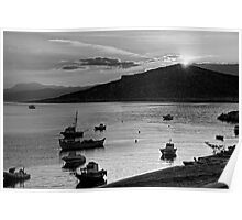 Sunrise over Nissaki - B&W Poster