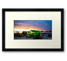 one green bottle laying on the beach Framed Print
