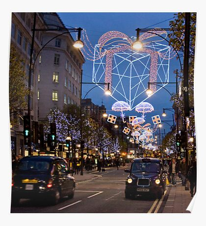 Christmas Shopping in Oxford Street London Poster
