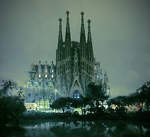 Sagrada Familia at night by ONiONAstudio