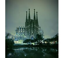 Sagrada Familia at night Photographic Print