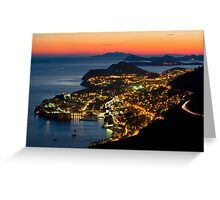 Night is coming over Dubrovnik Greeting Card