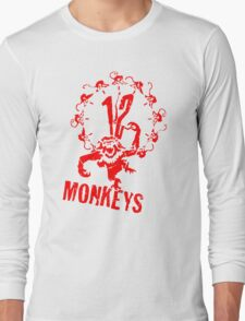 12 Monkeys Red Stencil Long Sleeve T-Shirt