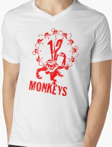 12 Monkeys Red Stencil Mens V-Neck T-Shirt