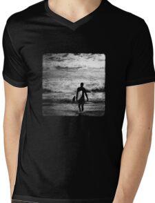 Heading Out - B&W Halftone Mens V-Neck T-Shirt