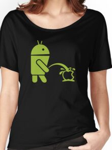 Android peeing apple Women's Relaxed Fit T-Shirt