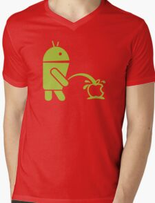 Android peeing apple Mens V-Neck T-Shirt