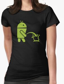 Android peeing apple Womens Fitted T-Shirt