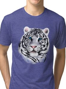 White Tiger Face Tri-blend T-Shirt